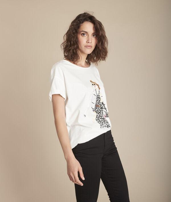 Caroline ecru screen-printed organic cotton T-shirt PhotoZ | 1-2-3