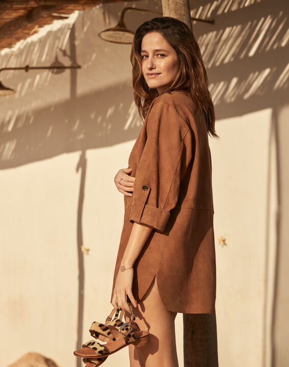 Vanak chocolate suede leather lace-up dress PhotoZ | 1-2-3