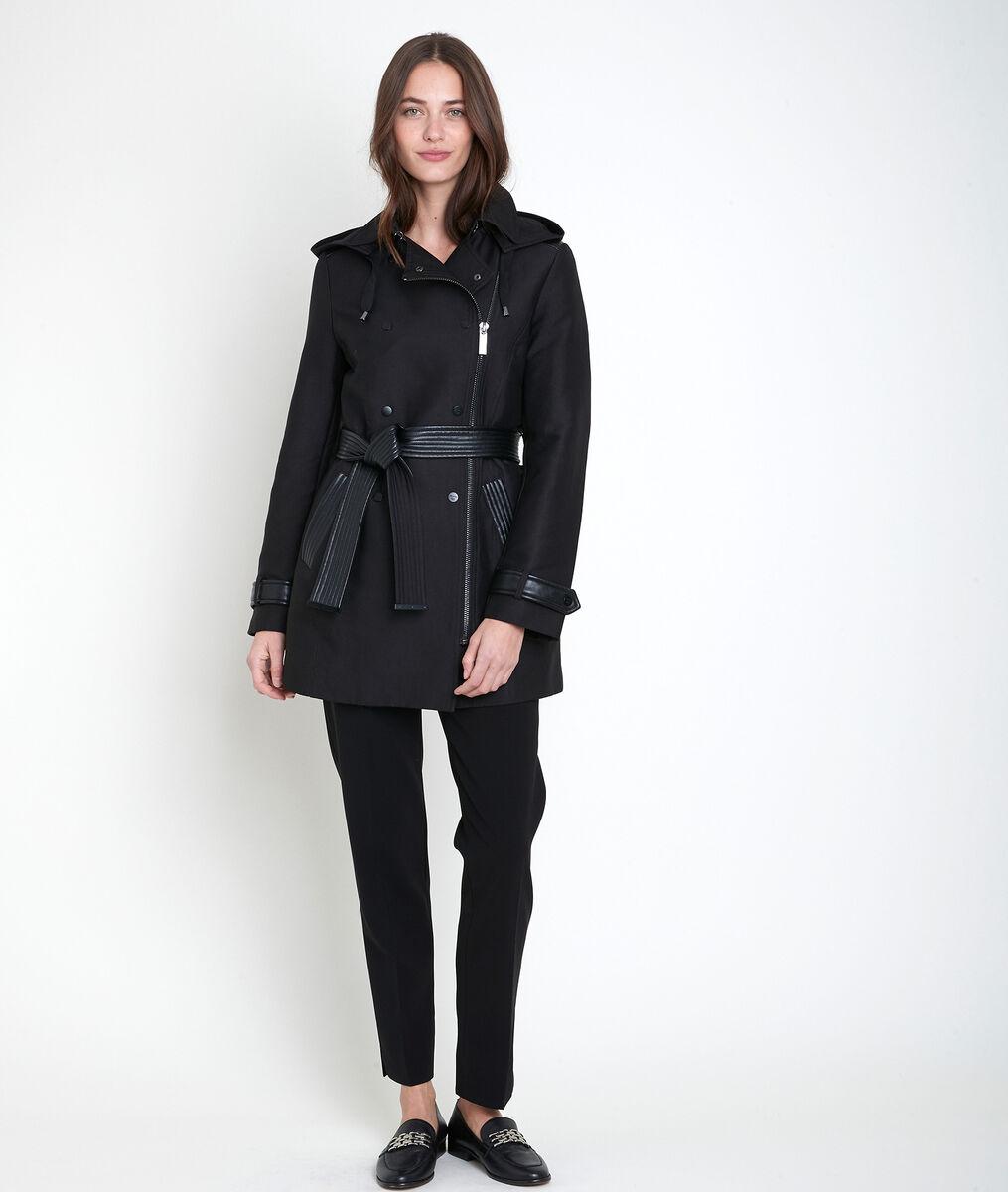 Sakura trench coat with faux leather panel PhotoZ | 1-2-3