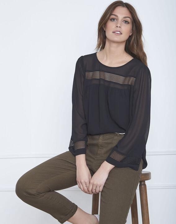 Verena black openwork braid blouse PhotoZ   1-2-3