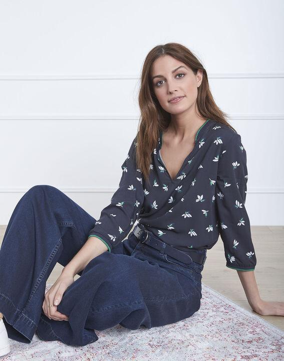 Varna navy floral print blouse PhotoZ | 1-2-3