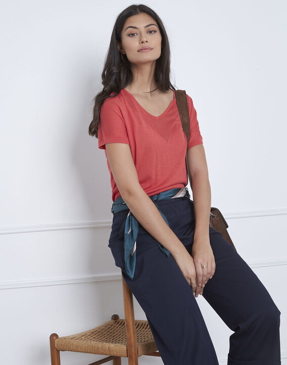 Never red pullover with neckline detailing (1) - Maison 123