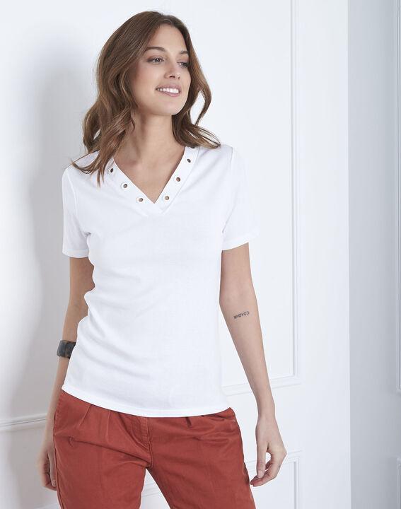 Basic white t-shirt with eyelet neckline PhotoZ | 1-2-3