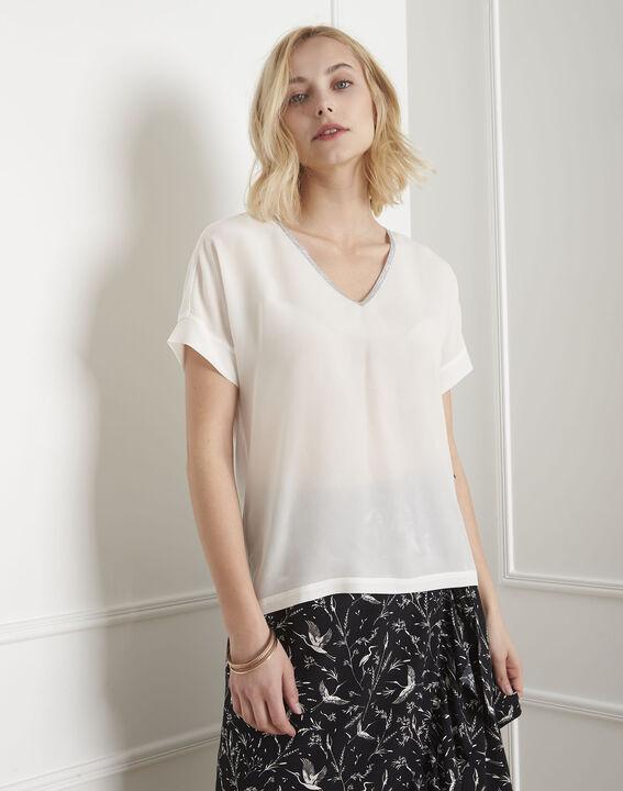 Vilma ecru top with lurex neckline PhotoZ | 1-2-3