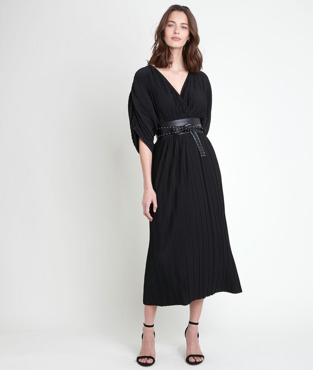 Melissa black long pleated dress PhotoZ   1-2-3