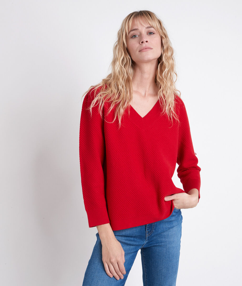 AMORE red decorative knit jumper PhotoZ | 1-2-3