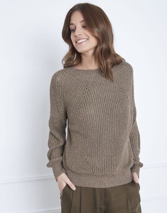 Atlas khaki lurex jumper PhotoZ | 1-2-3