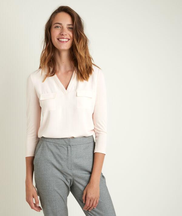 Genna V-neck dual-fabric blouse PhotoZ | 1-2-3