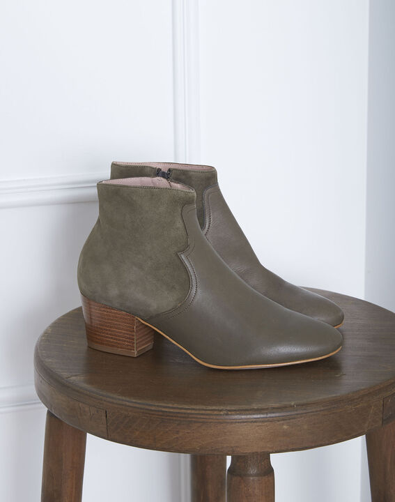 Kendal khaki dual-material ankle boots with heels (1) - Maison 123