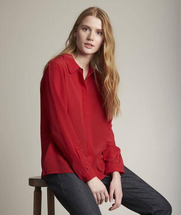 Maelle red silk shirt PhotoZ | 1-2-3