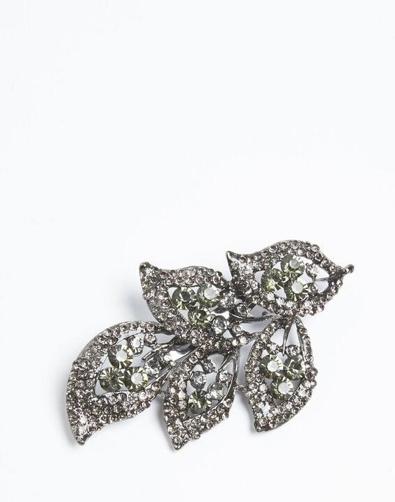 Xelia leaf brooch with black stones (2) - Maison 123