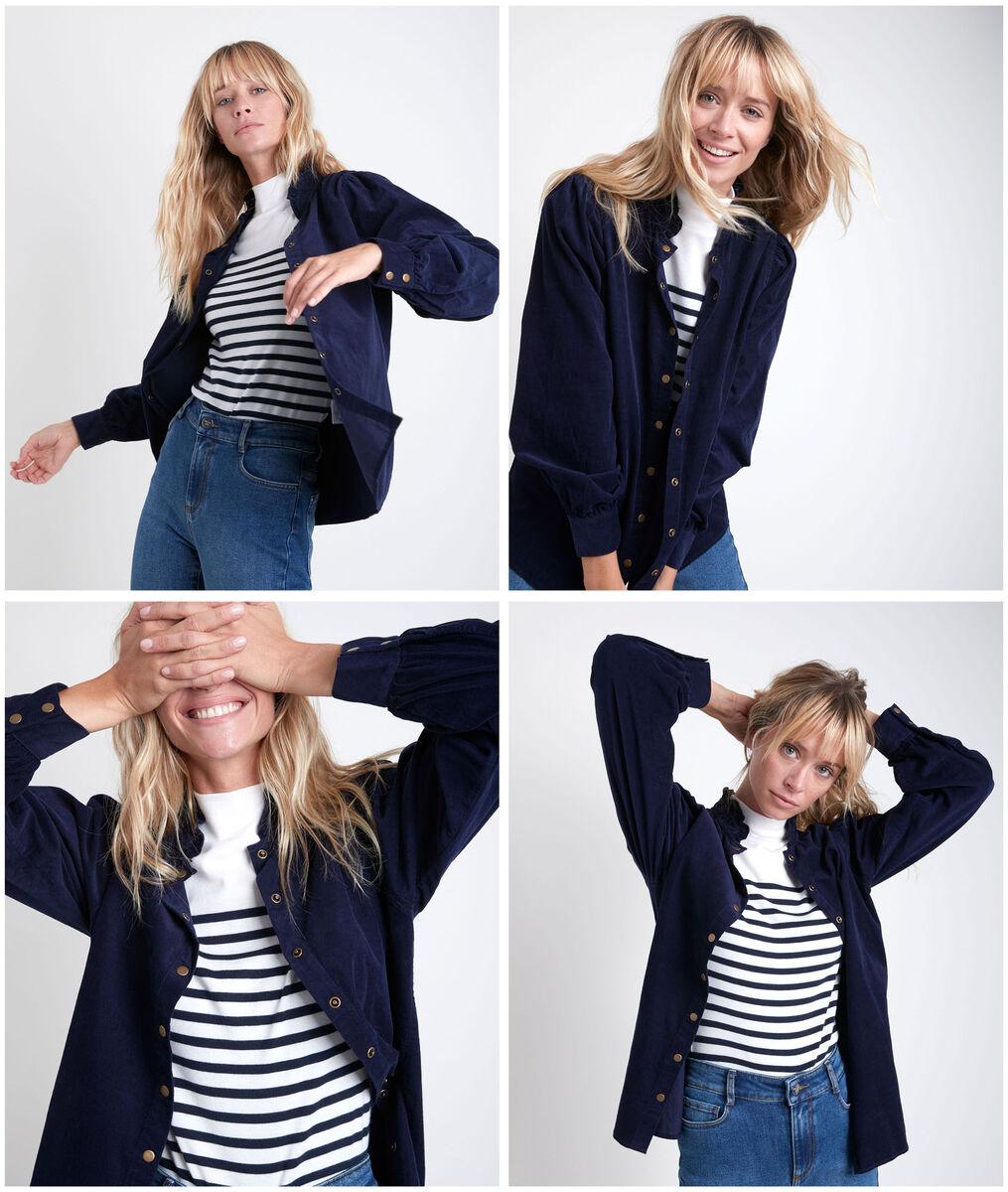 Jeraldine navy velours shirt PhotoZ | 1-2-3