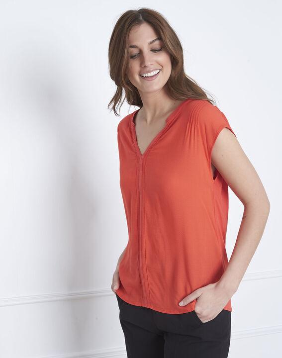Vanissa red dual-fabric blouse PhotoZ   1-2-3