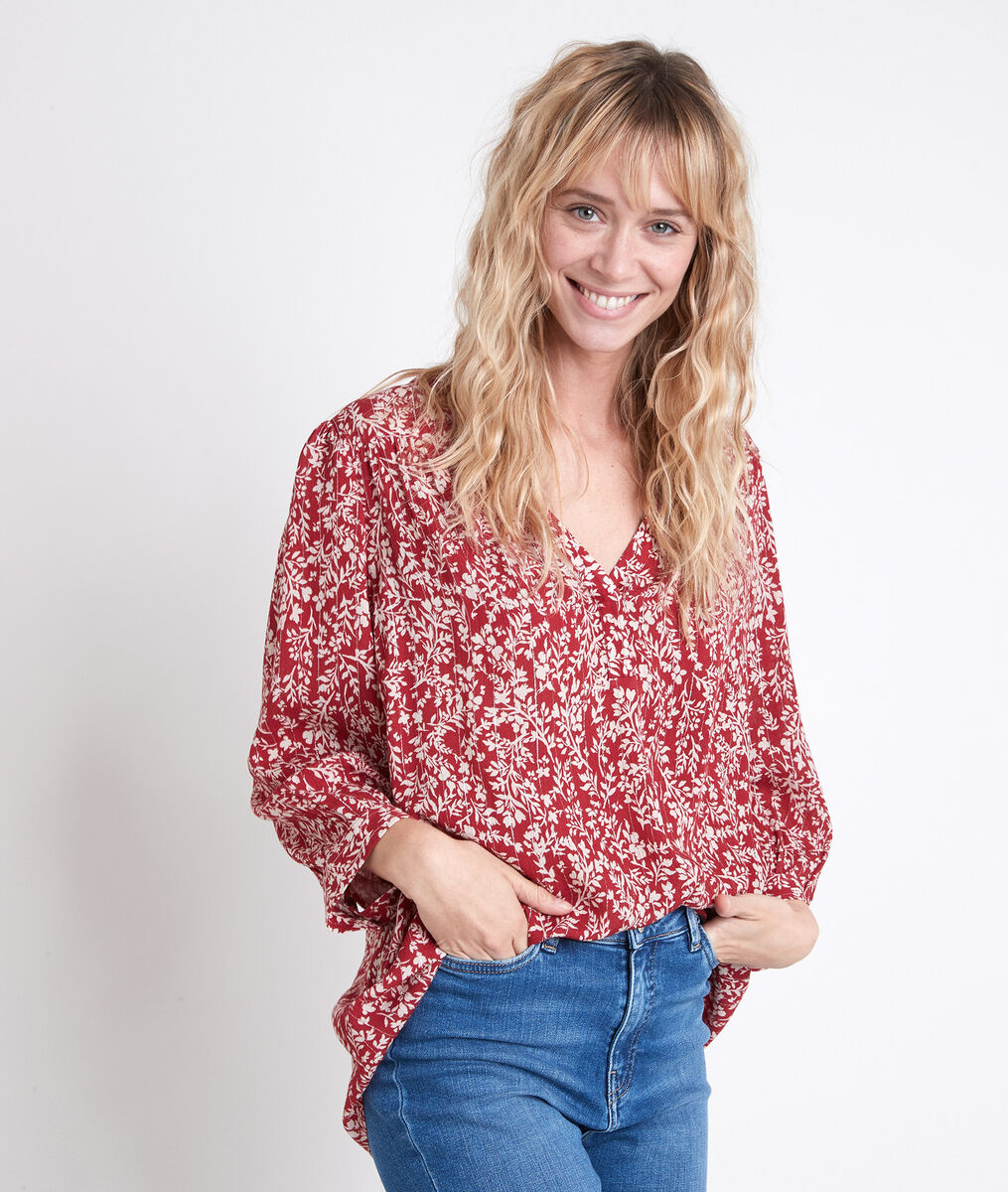 ELSA red floral printed blouse PhotoZ | 1-2-3