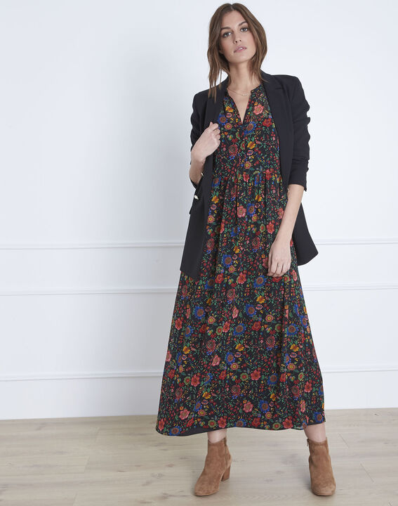 Libra floral print long black dress  (5) - Maison 123