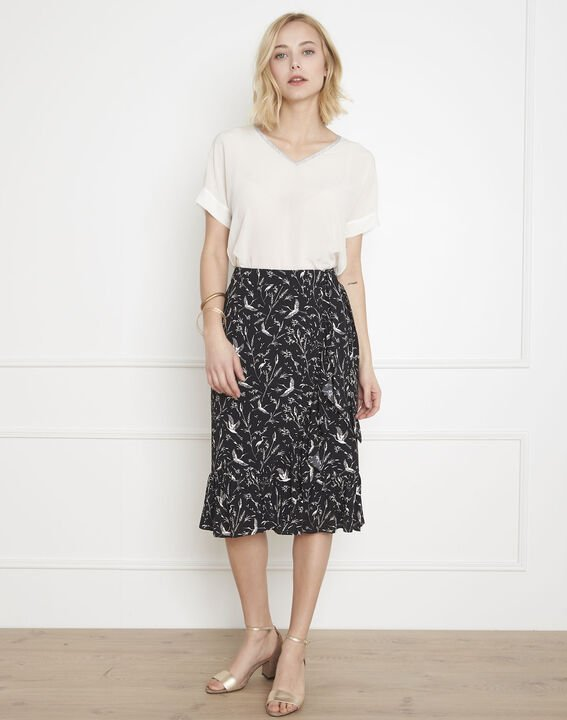 Senvol black floral print skirt PhotoZ | 1-2-3