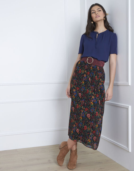 Viola navy blouse with laced neckline (1) - Maison 123
