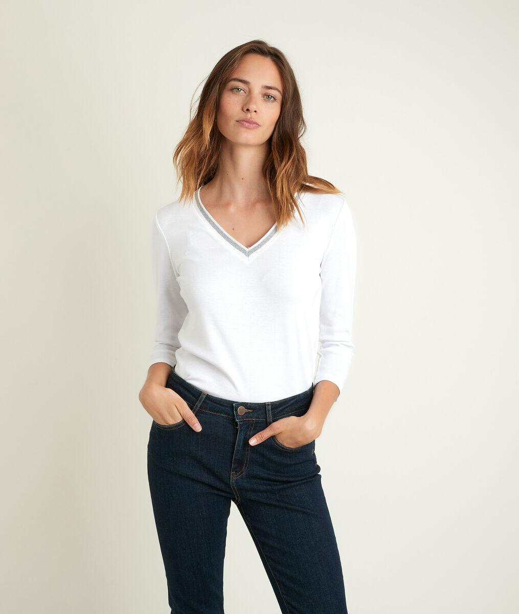 Calypso white T-shirt with decorative neckline PhotoZ | 1-2-3