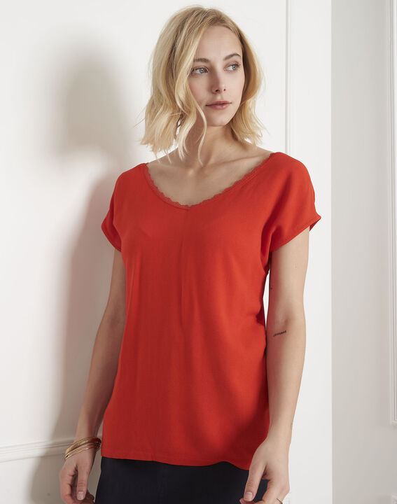 Passion coral T-shirt with lace neckline PhotoZ | 1-2-3