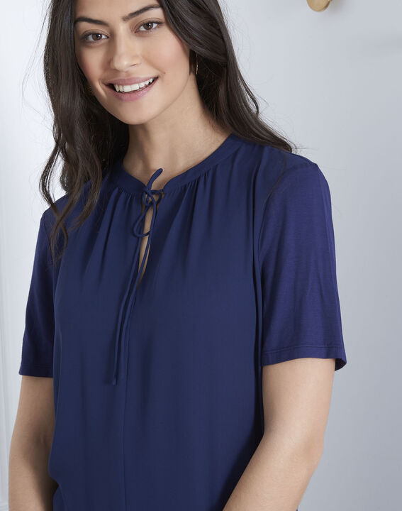 Viola navy blouse with laced neckline (3) - Maison 123