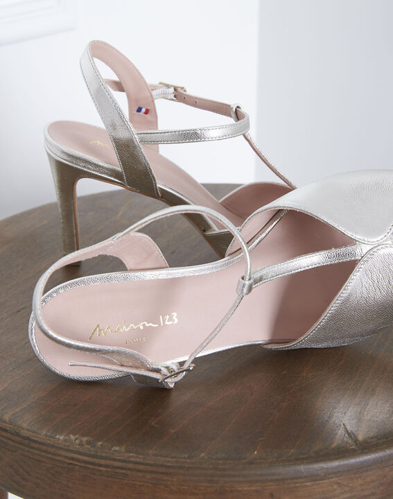 Yvana gold open-toed leather sandals PhotoZ | 1-2-3