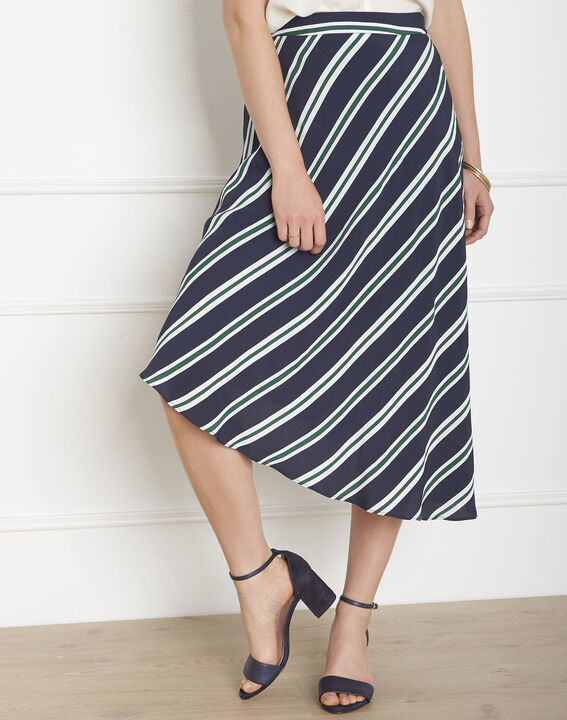 Sirene navy striped asymmetrical skirt PhotoZ | 1-2-3