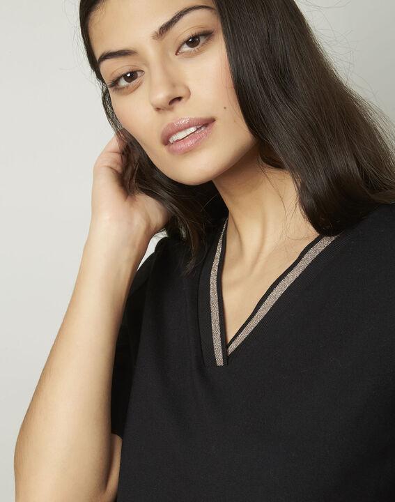 Pluie black lurex V-neckline T-shirt (4) - Maison 123