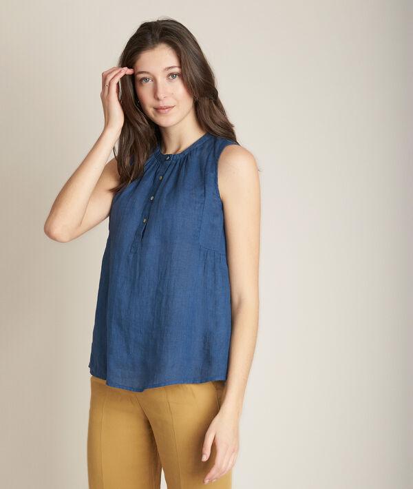Eloane indigo linen top PhotoZ | 1-2-3