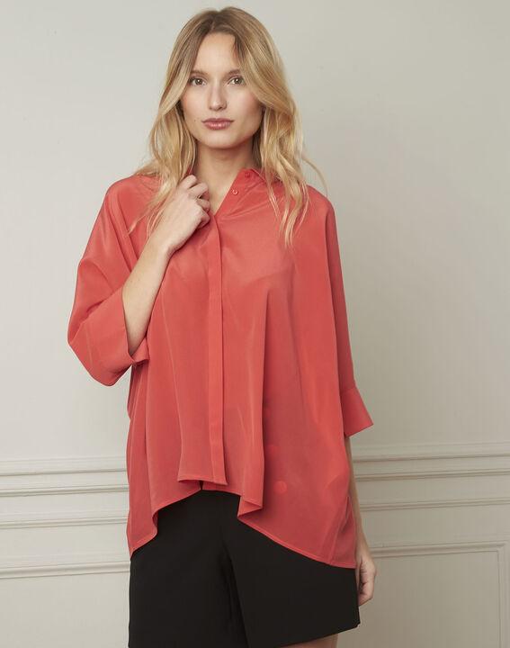 Vania coral flared silk blouse (1) - Maison 123