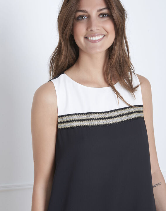 Isola black and white dress with lurex detailing (3) - Maison 123