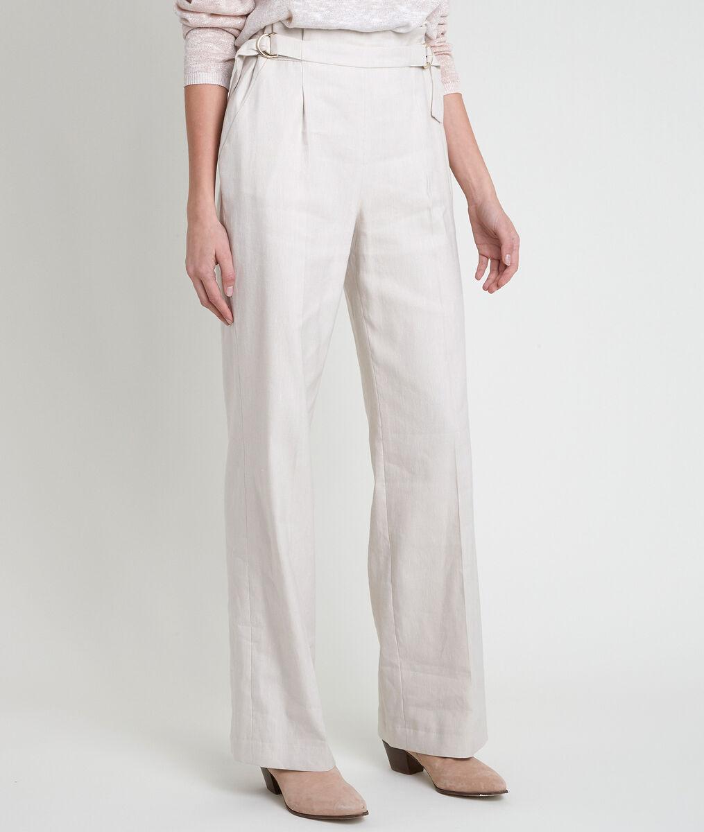 Filipo ecru linen blend wide-legged trousers PhotoZ | 1-2-3
