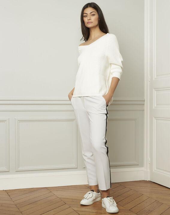 Ankara cream cotton and wool blend V-neck pullover (2) - Maison 123