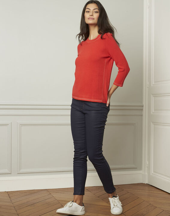 Avocado red pullover with buttons and lurex details (2) - Maison 123