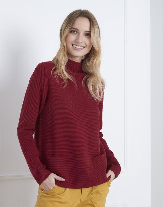 Belize garnet red fine knit funnel neck jumper (2) - Maison 123