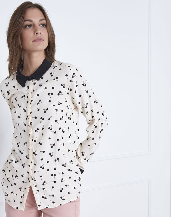 Venus cherry print pale pink  long-sleeved blouse (2) - Maison 123