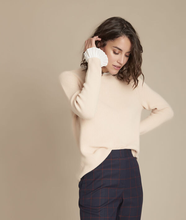 Fully beige pullover with ruffle details PhotoZ | 1-2-3