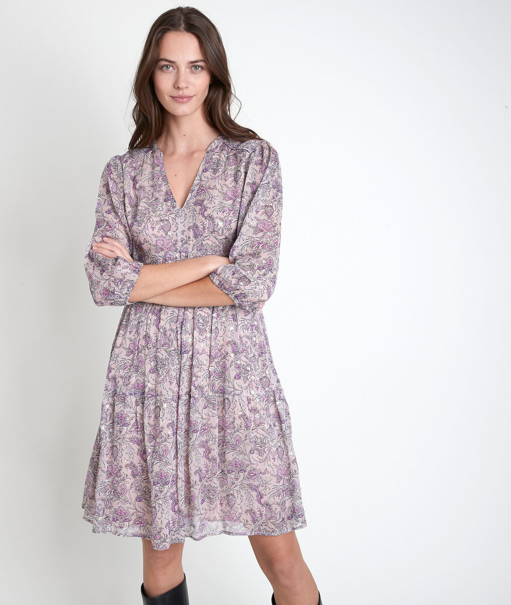 Minette mauve printed dress PhotoZ | 1-2-3