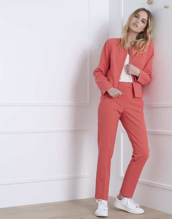 Charme coral microfibre and grosgrain jacket PhotoZ   1-2-3