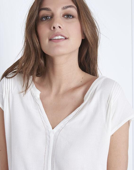 Vanissa Henly collar bimaterial beige blouse (3) - Maison 123