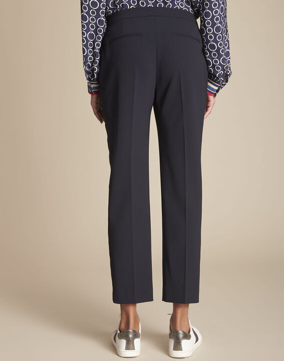 Suzanne navy tailored trousers with horizontal panel (4) - Maison 123