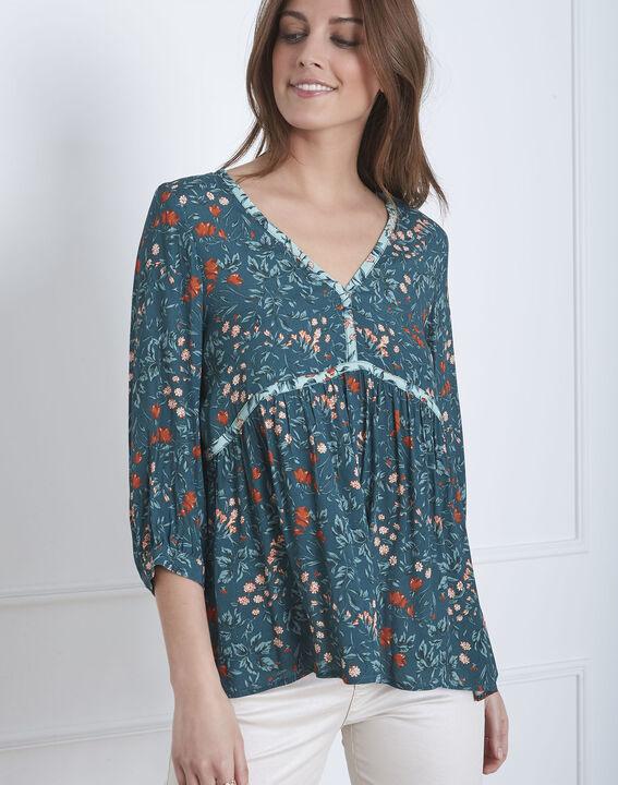 Vinter green floral print blouse PhotoZ | 1-2-3