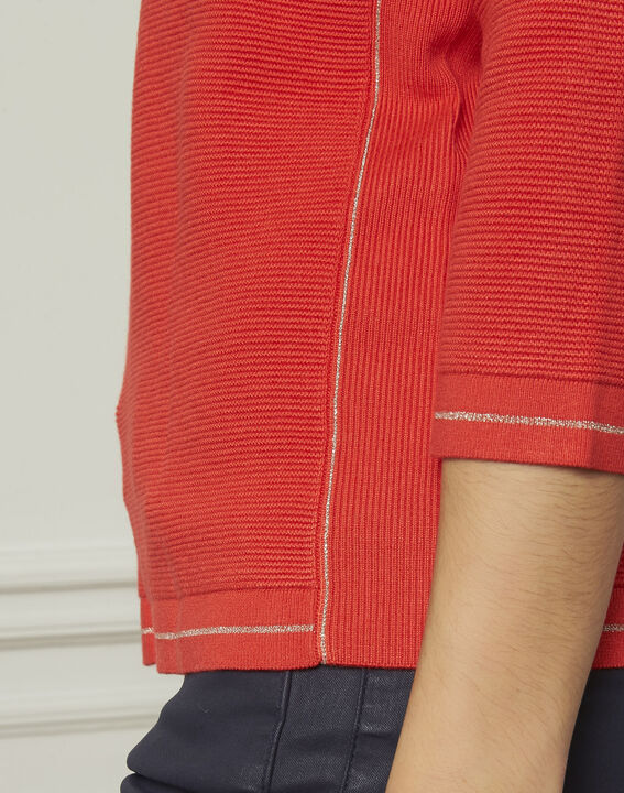 Avocado red pullover with buttons and lurex details (4) - Maison 123
