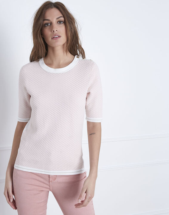 Ananas powdered 3/4 length sleeves pale pink sweater  PhotoZ | 1-2-3