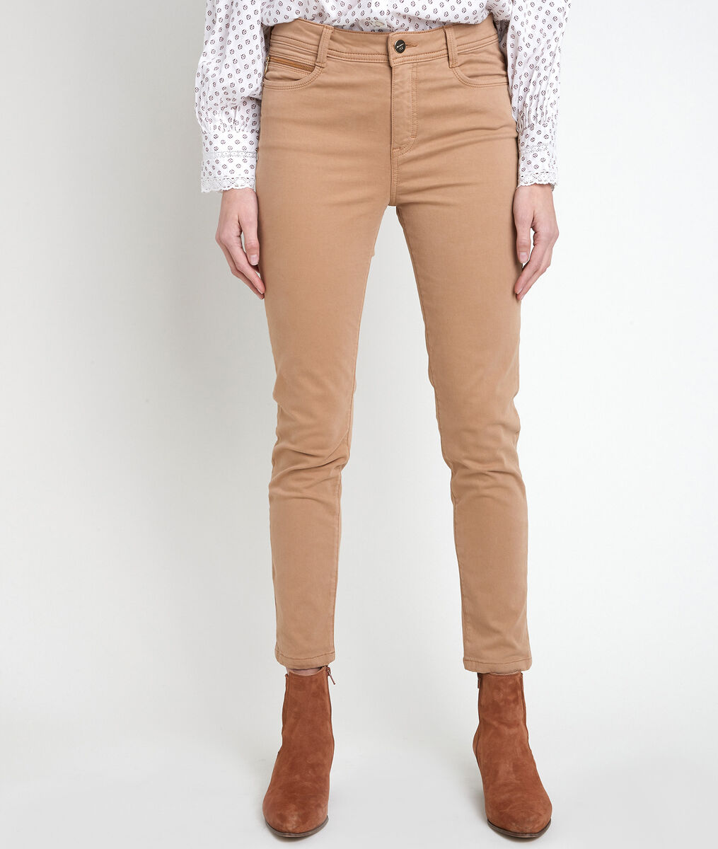 The iconic Sultan brown slim-fit cotton satin jeans  PhotoZ | 1-2-3