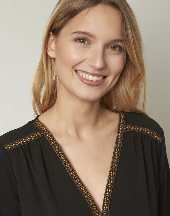 Valentine embroidered black blouse (4) - Maison 123