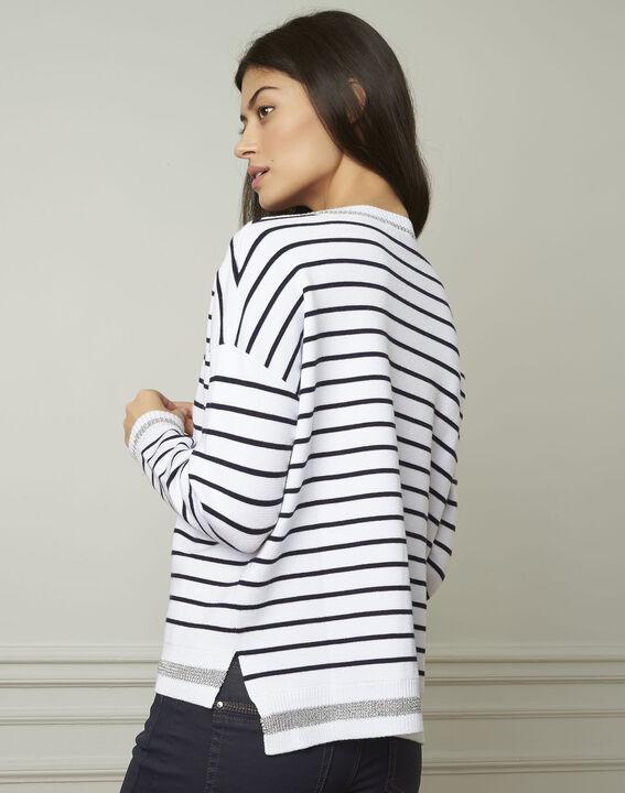 Archipel white striped viscose blend pullover (3) - Maison 123
