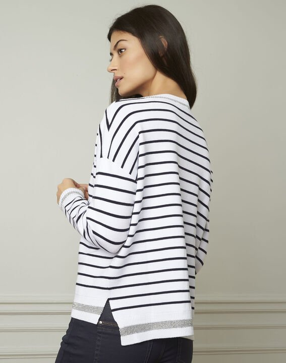 Archipel white striped viscose blend pullover (3) - Maison 123
