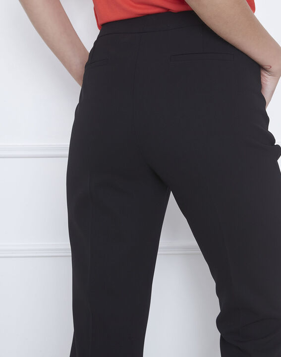 Hugo black straight-cut microfibre trousers with buttoned waistband (3) - Maison 123
