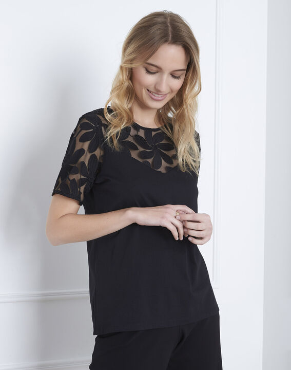 Port Louis black T-shirt with lace embroidery (1) - Maison 123