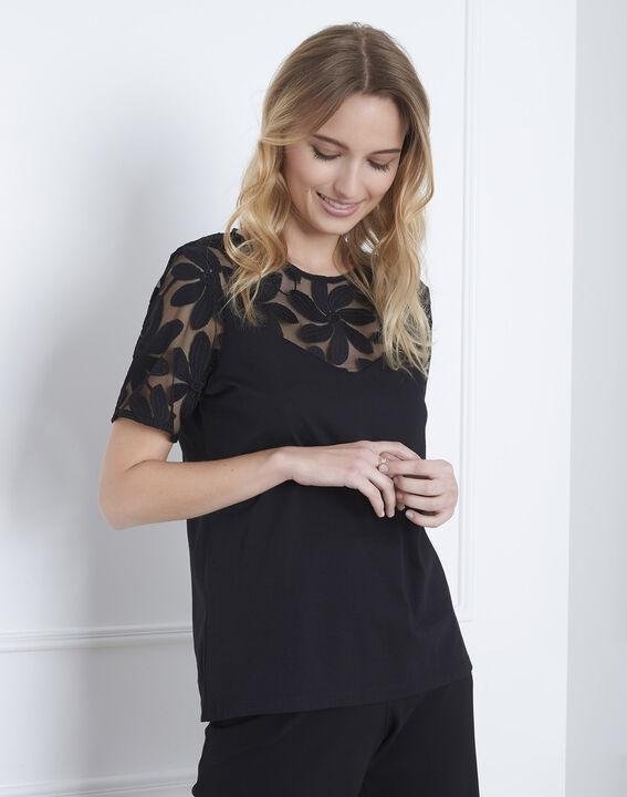 Port Louis black T-shirt with lace embroidery (1) - Maison 123